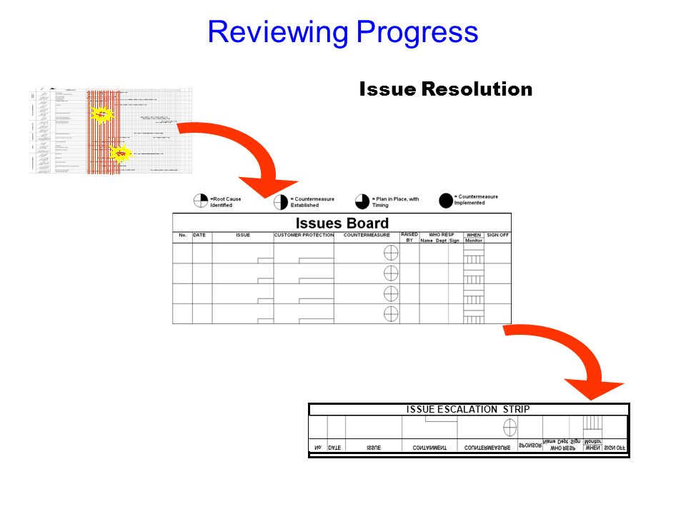 Reviewing Progress ISSUE ESCALATION STRIP Issue Resolution