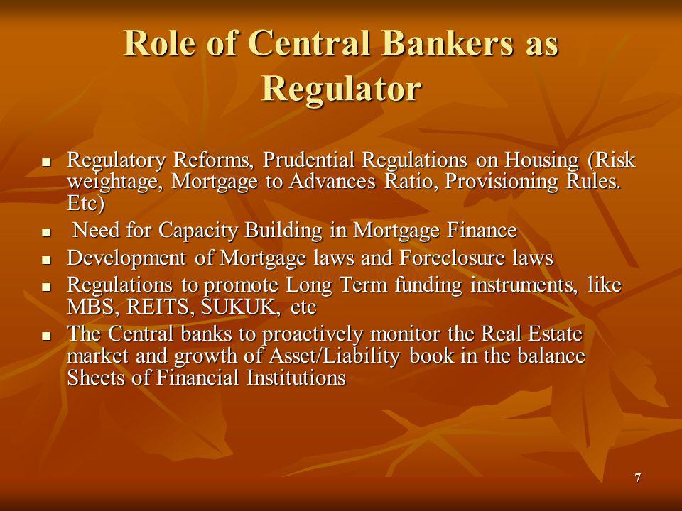 7 Role of Central Bankers as Regulator Regulatory Reforms, Prudential Regulations on Housing (Risk weightage, Mortgage to Advances Ratio, Provisioning Rules.