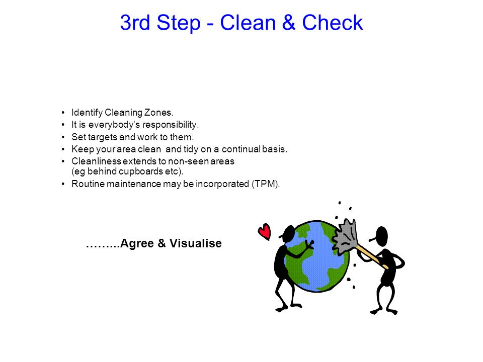 Can be divided into 3 sections :- Overall Situation Major cleaning operations and plan to find sources of dirt.