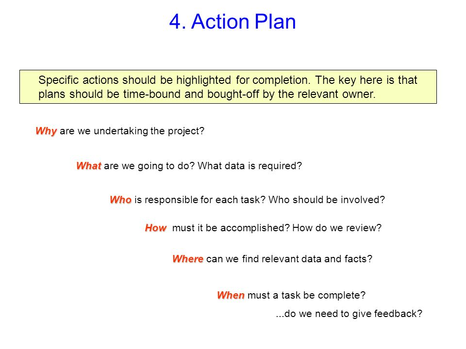 4. Action Plan Specific actions should be highlighted for completion. The key here is that plans should be time-bound and bought-off by the relevant o