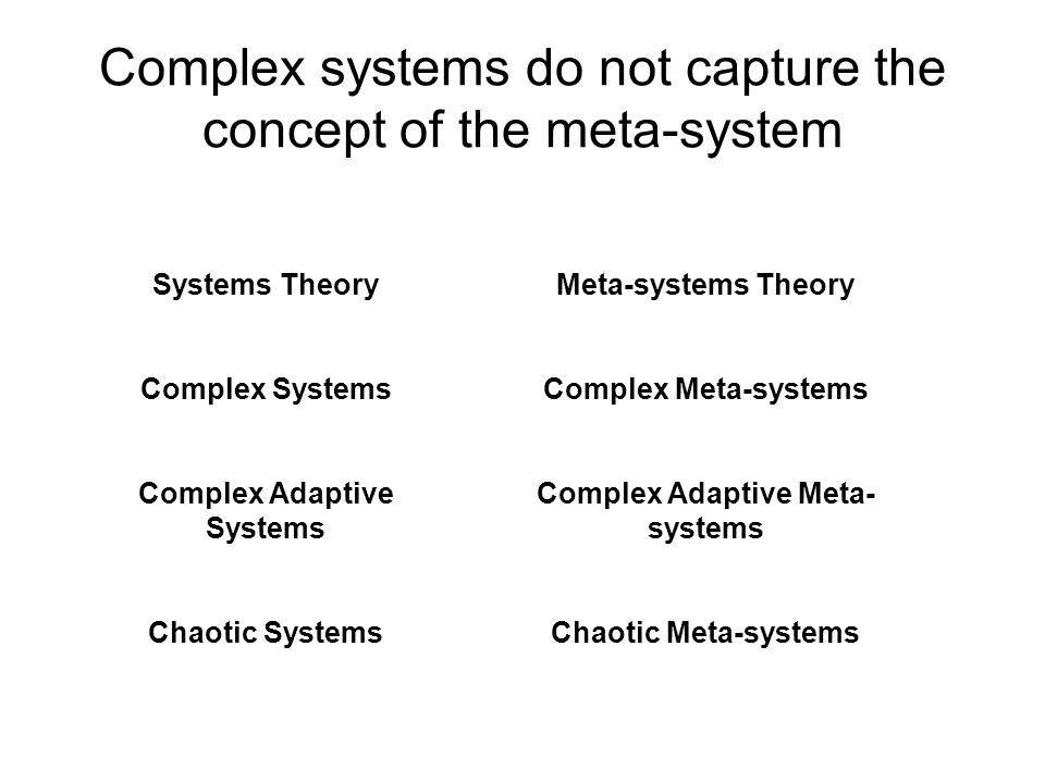 Complex systems do not capture the concept of the meta-system Systems Theory Complex Systems Complex Adaptive Systems Chaotic Systems Meta-systems Theory Complex Meta-systems Complex Adaptive Meta- systems Chaotic Meta-systems