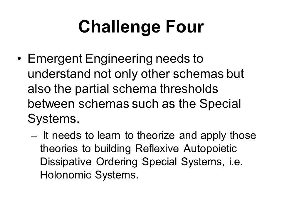 Challenge Four Emergent Engineering needs to understand not only other schemas but also the partial schema thresholds between schemas such as the Special Systems.