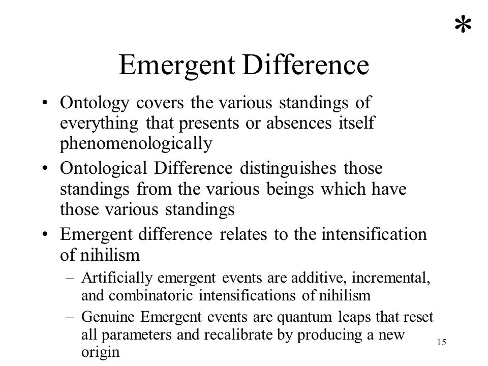 15 Emergent Difference Ontology covers the various standings of everything that presents or absences itself phenomenologically Ontological Difference