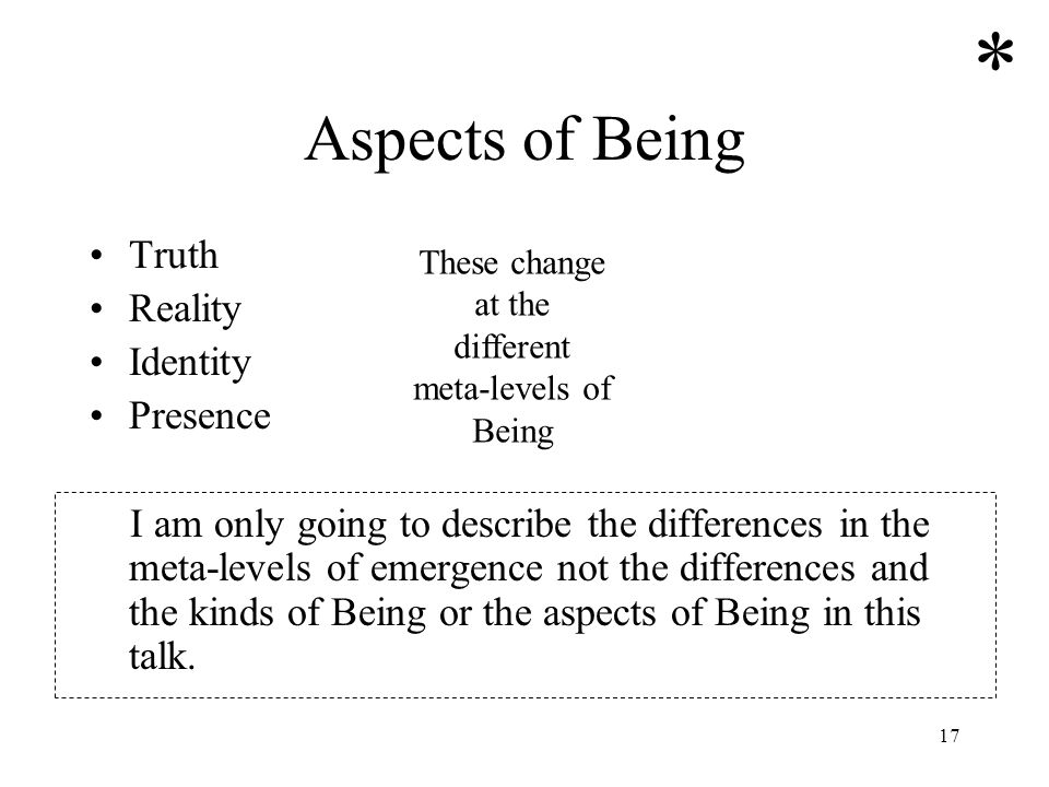 17 Aspects of Being Truth Reality Identity Presence I am only going to describe the differences in the meta-levels of emergence not the differences an