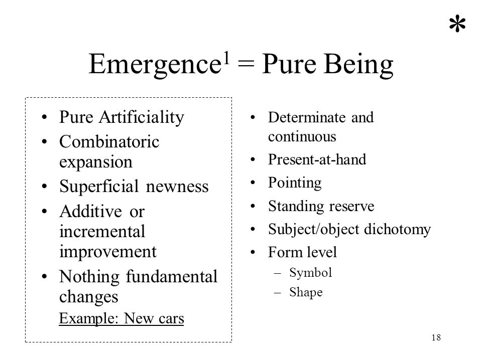 18 Emergence 1 = Pure Being Pure Artificiality Combinatoric expansion Superficial newness Additive or incremental improvement Nothing fundamental chan