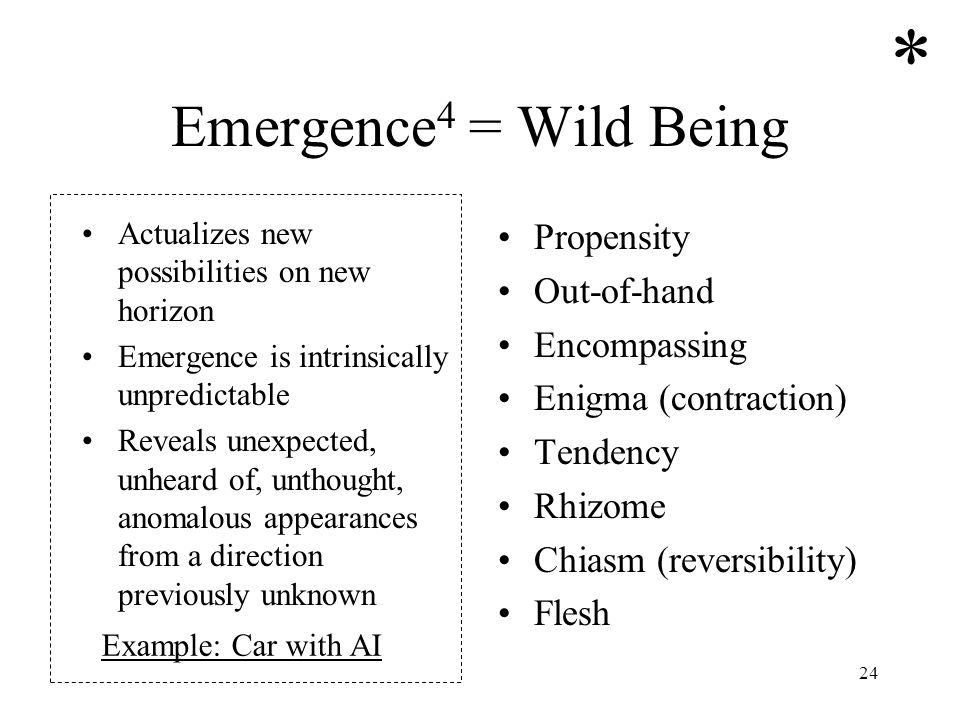 24 Emergence 4 = Wild Being Actualizes new possibilities on new horizon Emergence is intrinsically unpredictable Reveals unexpected, unheard of, untho