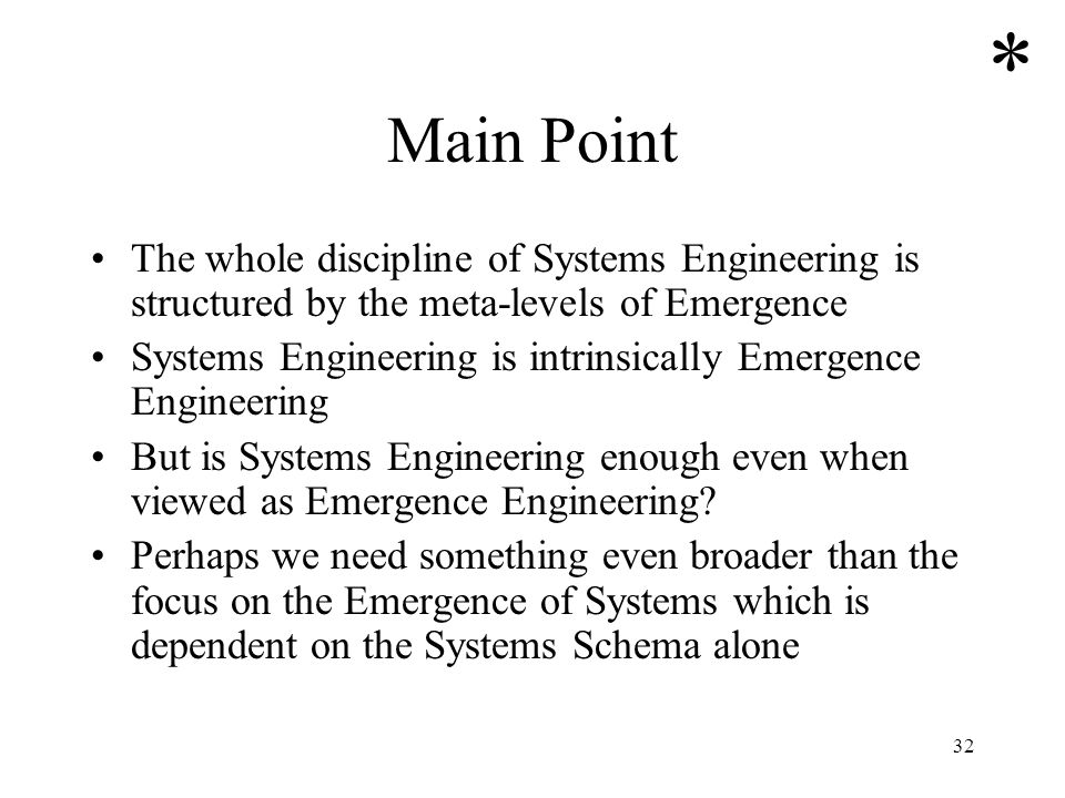 32 Main Point The whole discipline of Systems Engineering is structured by the meta-levels of Emergence Systems Engineering is intrinsically Emergence