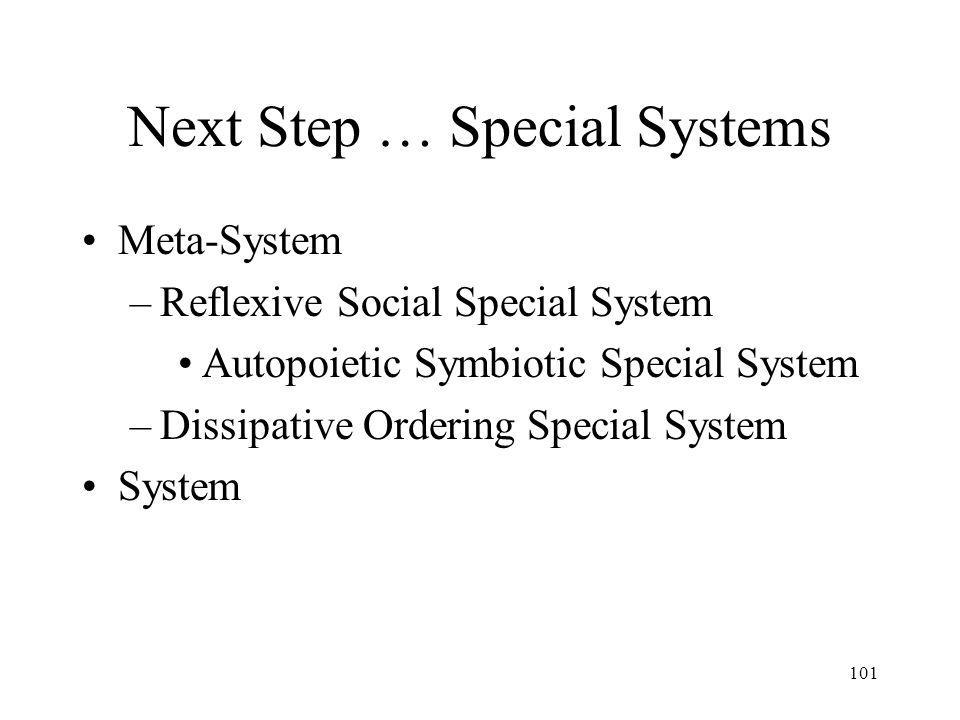 101 Next Step … Special Systems Meta-System –Reflexive Social Special System Autopoietic Symbiotic Special System –Dissipative Ordering Special System