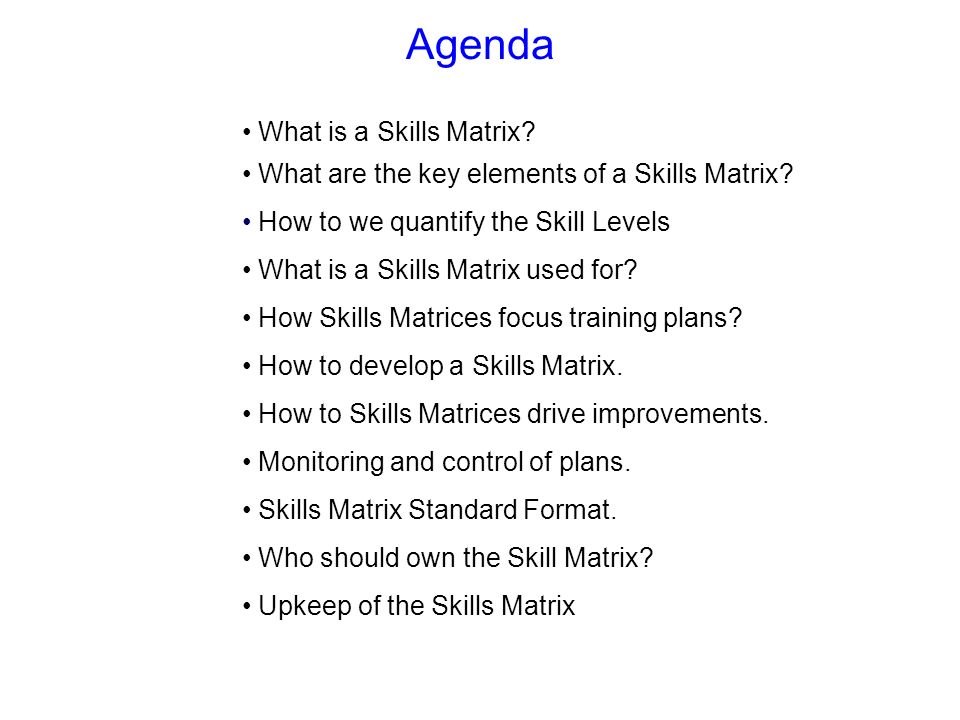 Agenda What is a Skills Matrix? What are the key elements of a Skills Matrix? How to we quantify the Skill Levels What is a Skills Matrix used for? Ho