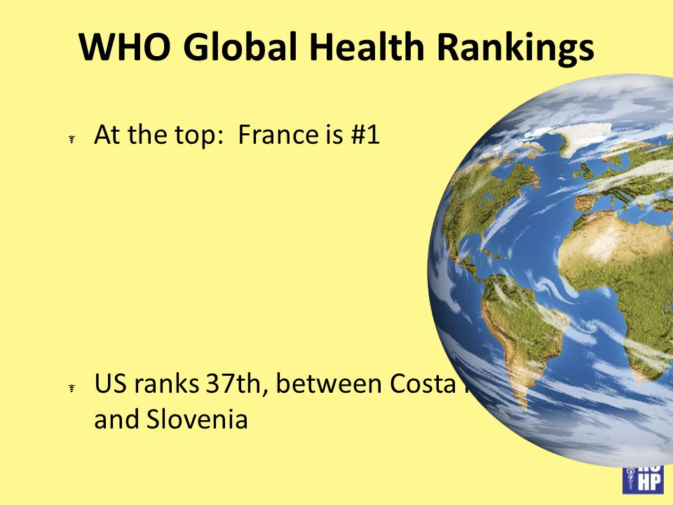 WHO Global Health Rankings At the top: France is #1 US ranks 37th, between Costa Rica and Slovenia