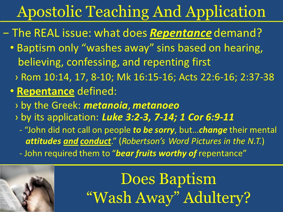 Does Baptism Wash Away Adultery.