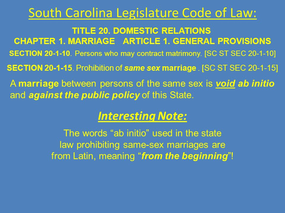 South Carolina Legislature Code of Law: TITLE 20. DOMESTIC RELATIONS CHAPTER 1.