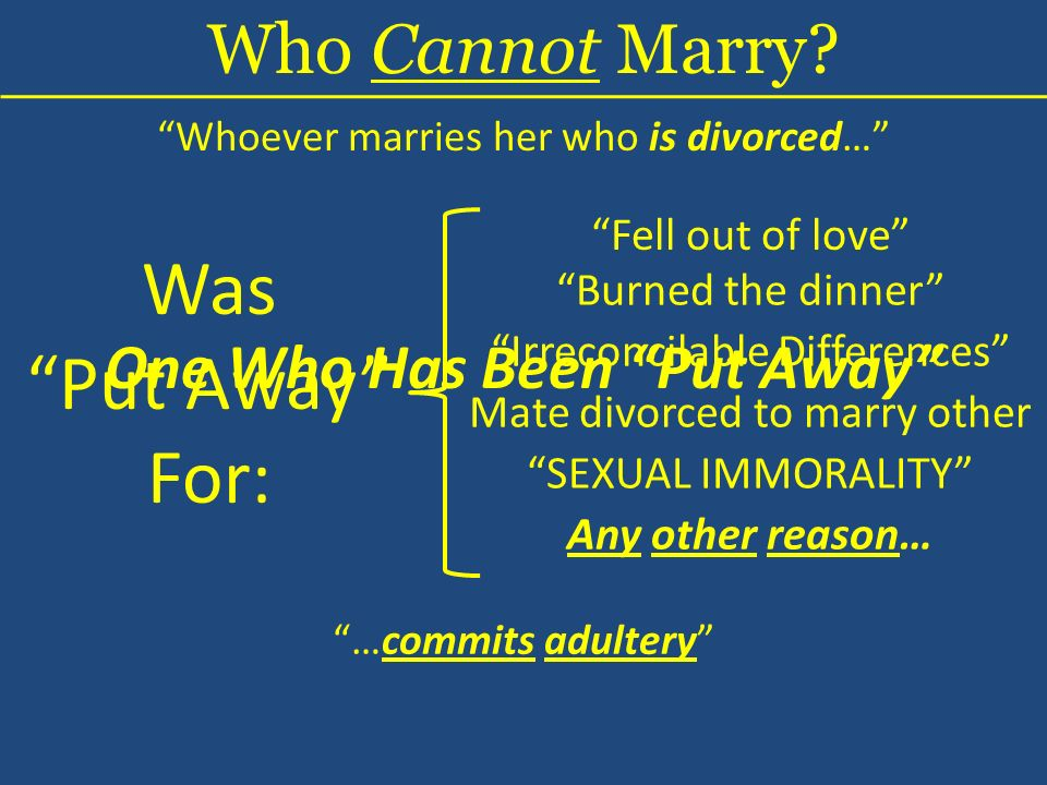 Whoever marries her who is divorced… Was Put Away For: Who Cannot Marry? Burned the dinner Irreconcilable Differences One Who Has Been Put Away Fell o