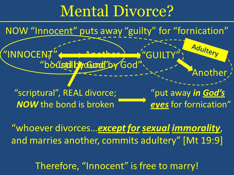NOW Innocent puts away guilty for fornication INNOCENT GUILTY Mental Divorce.