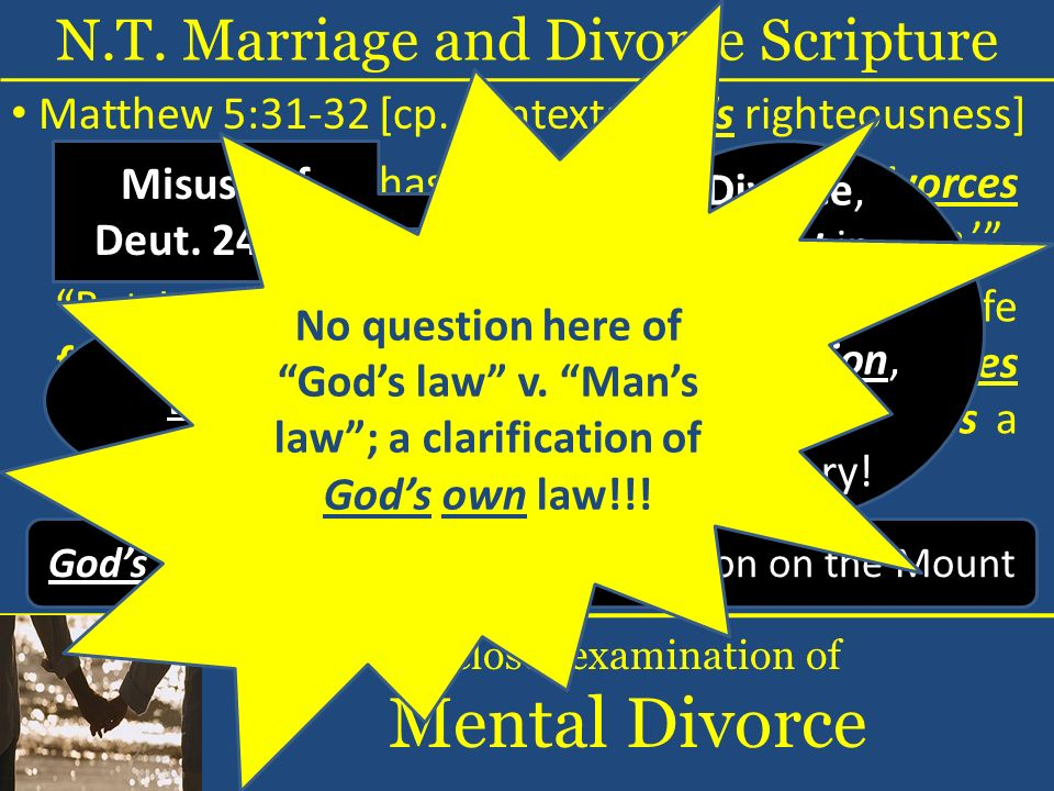 But I say to you that whoever divorces his wife for any reason except sexual immorality causes her to commit adultery; and whoever marries a woman who is divorced commits adultery.