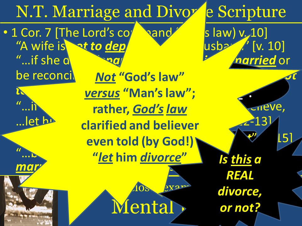 …let him [her] not divorce her [him] [v. 12-13] A wife is not to depart from her husband [v.