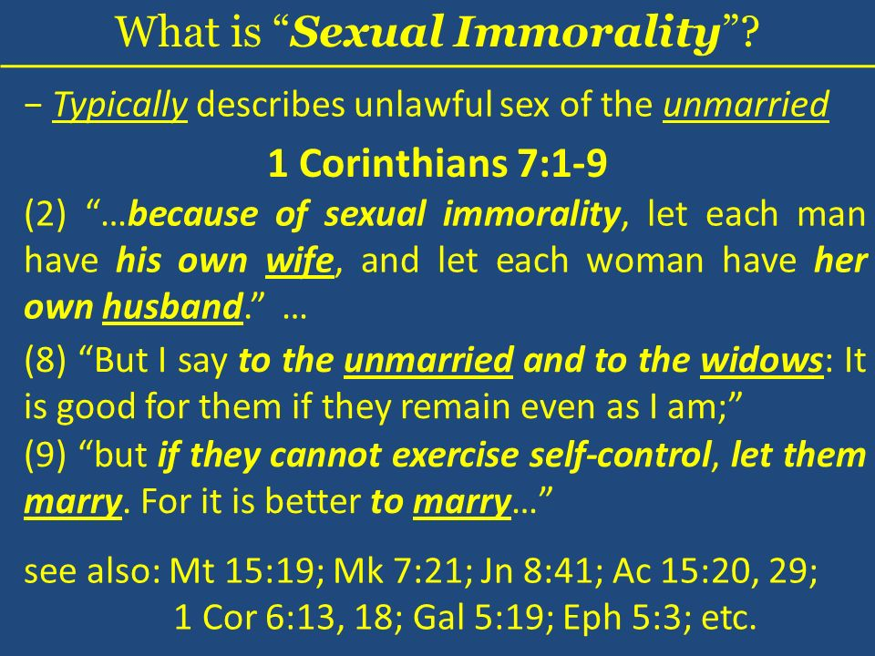 What is Sexual Immorality.