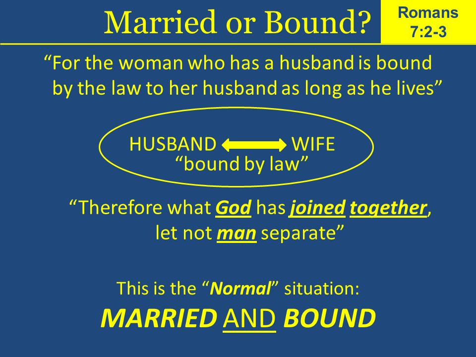 For the woman who has a husband is bound by the law to her husband as long as he lives HUSBANDWIFE bound by law Therefore what God has joined together, let not man separate This is the Normal situation: MARRIED AND BOUND Married or Bound.