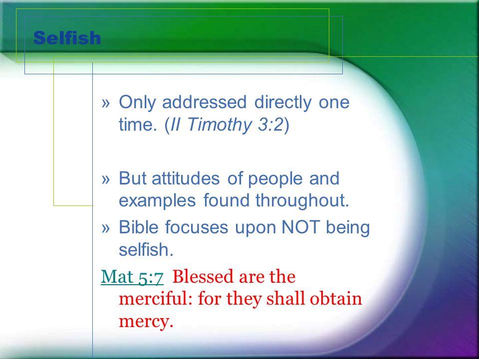 Selfish Agenda 1.Who does selfish benefit. 2. Who does selfless benefit.