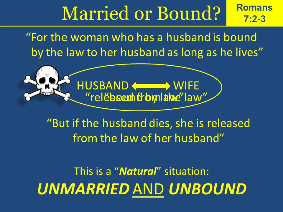 For the woman who has a husband is bound by the law to her husband as long as he lives HUSBANDWIFE bound by law But if the husband dies, she is releas