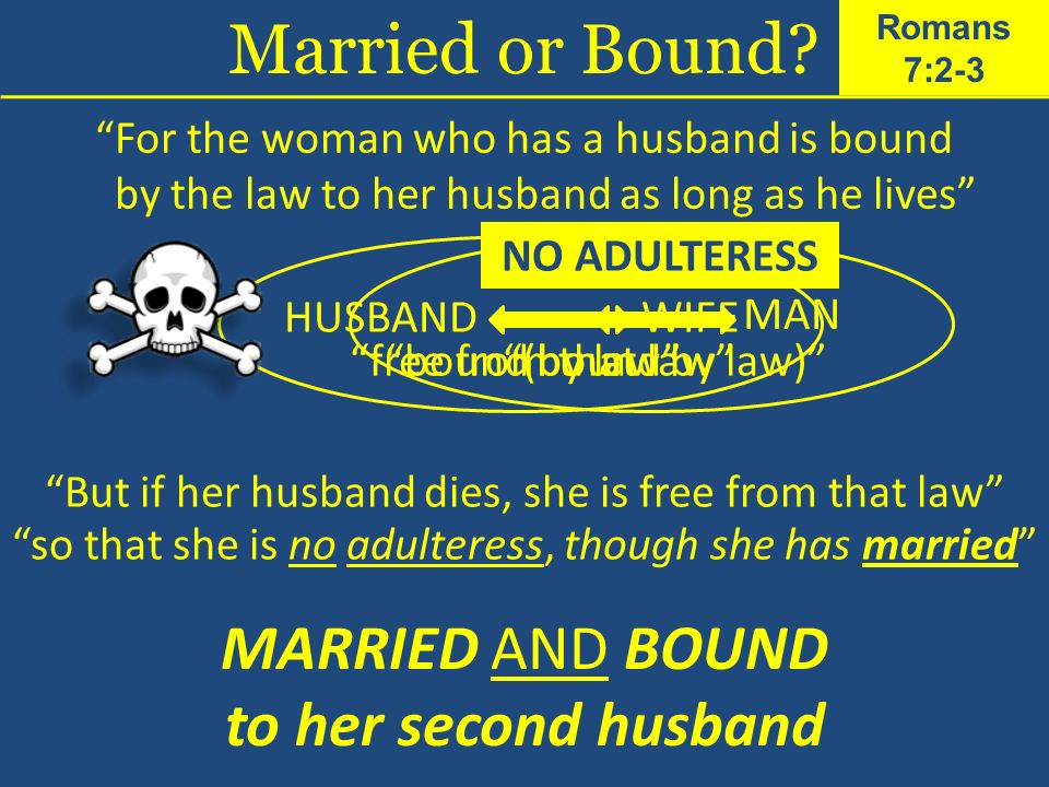 For the woman who has a husband is bound by the law to her husband as long as he lives HUSBANDWIFE bound by law But if her husband dies, she is free f
