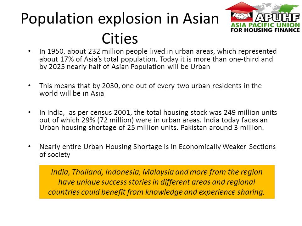 Population explosion in Asian Cities In 1950, about 232 million people lived in urban areas, which represented about 17% of Asias total population.