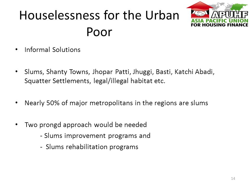 Houselessness for the Urban Poor Informal Solutions Slums, Shanty Towns, Jhopar Patti, Jhuggi, Basti, Katchi Abadi, Squatter Settlements, legal/illegal habitat etc.
