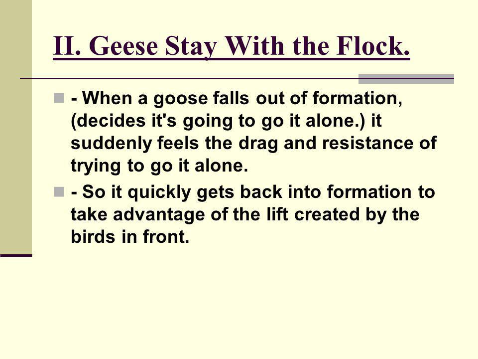 II. Geese Stay With the Flock. - When a goose falls out of formation, (decides it's going to go it alone.) it suddenly feels the drag and resistance o