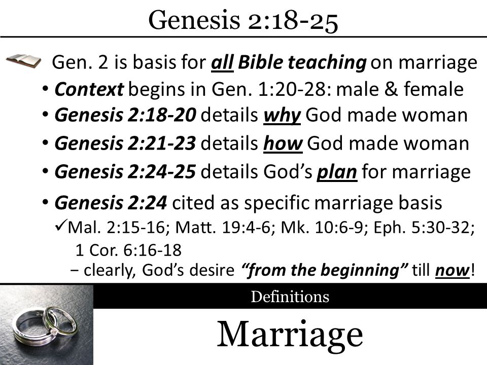 Marriage Genesis 2:18-25 Context begins in Gen. 1:20-28: male & female Gen.