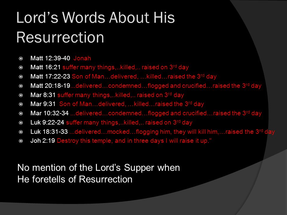Lords Words About His Resurrection Matt 12:39-40 Jonah Matt 16:21 suffer many things,..killed,..