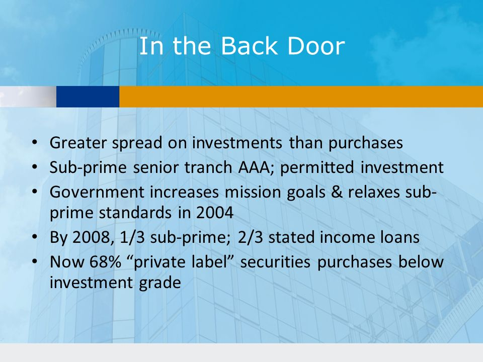 In the Back Door Greater spread on investments than purchases Sub-prime senior tranch AAA; permitted investment Government increases mission goals & relaxes sub- prime standards in 2004 By 2008, 1/3 sub-prime; 2/3 stated income loans Now 68% private label securities purchases below investment grade