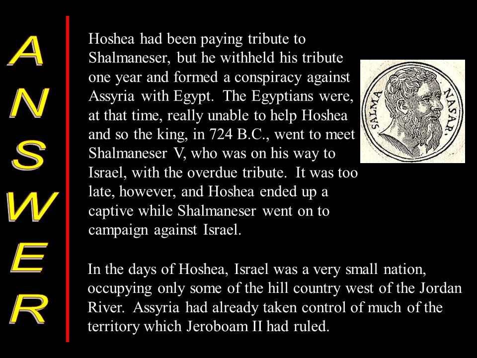 Hoshea had been paying tribute to Shalmaneser, but he withheld his tribute one year and formed a conspiracy against Assyria with Egypt.