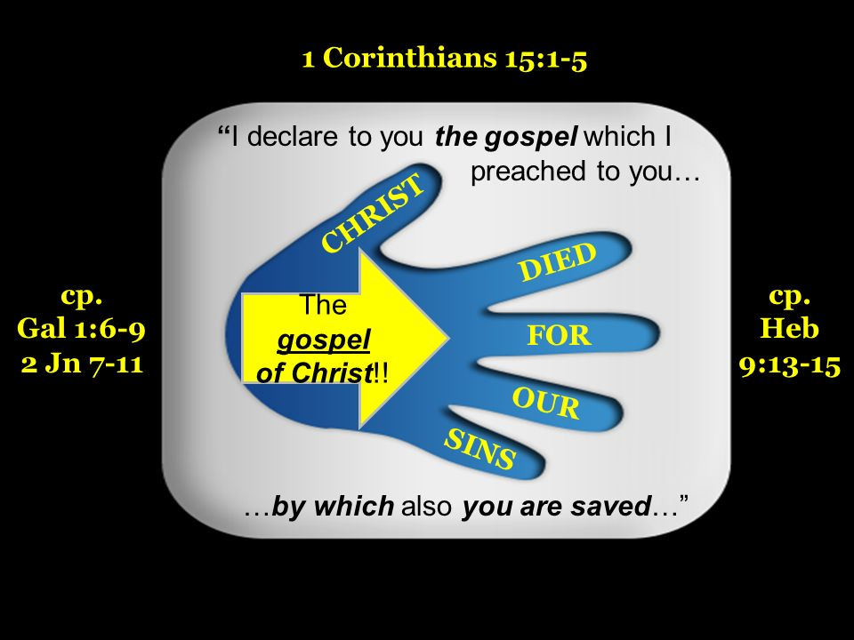 14 CHRIST DIED FOR OUR SINS I declare to you the gospel which I preached to you… …by which also you are saved… The gospel of Christ!! 1 Corinthians 15