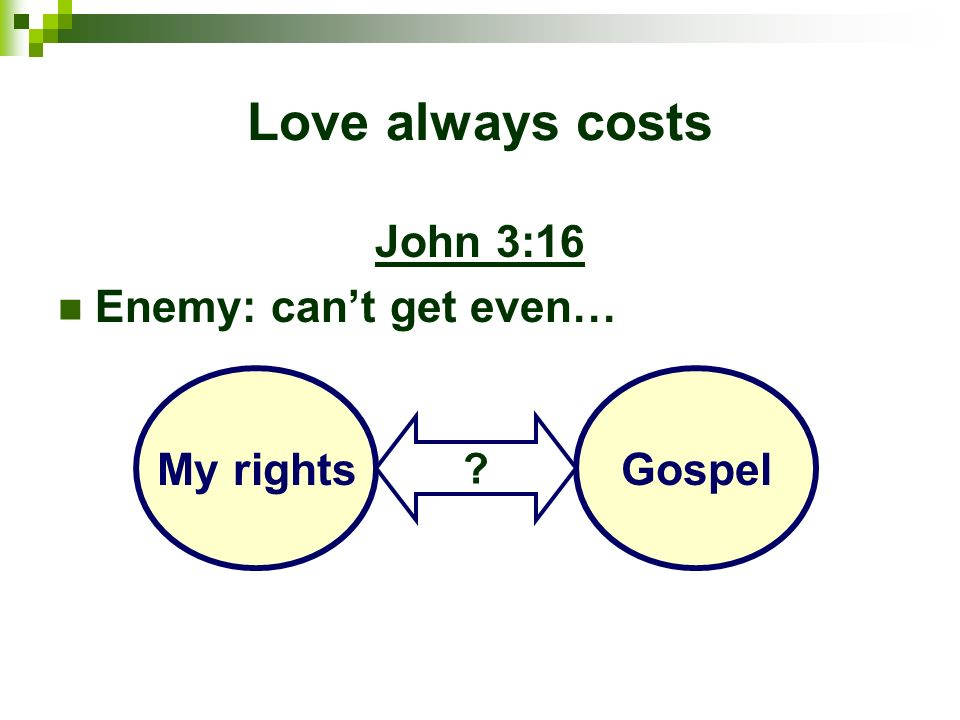 Love always costs John 3:16 Enemy: cant get even… My rightsGospel ?