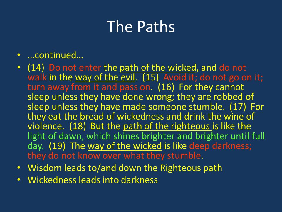 The Paths …continued… (14) Do not enter the path of the wicked, and do not walk in the way of the evil.