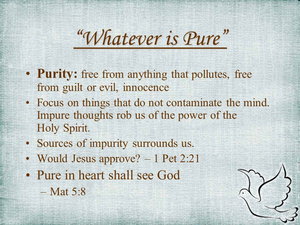 Whatever is Pure Purity: free from anything that pollutes, free from guilt or evil, innocence Focus on things that do not contaminate the mind. Impure