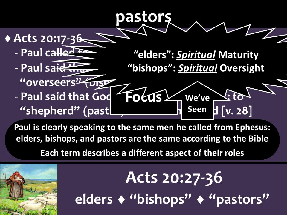 Acts 20:27-36 elders bishops pastors pastors pastors is from Greek poimen - primarily a secular word, denoting a sheep herder Luke 2:8-20; John 10 - English word pastor only appears 1 time in NKJV all the other uses of poimen is shepherd or some aspect of the work of shepherding Jn 21:16 [tend]; cp.