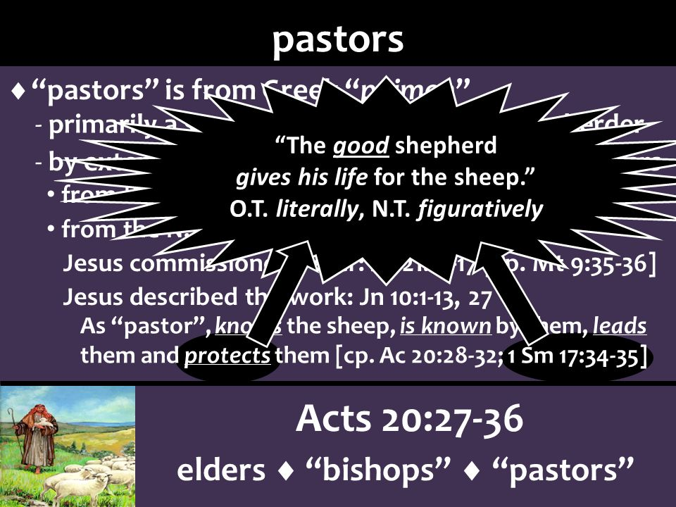 As pastor, knows the sheep, is known by them, leads them and protects them [cp.
