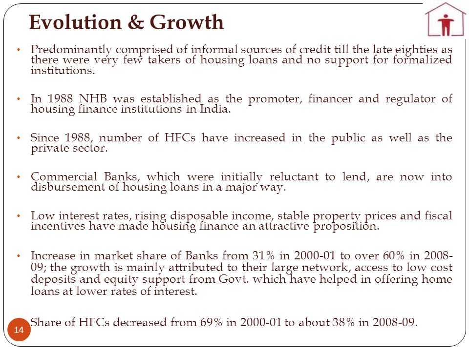 Evolution & Growth 14 Predominantly comprised of informal sources of credit till the late eighties as there were very few takers of housing loans and no support for formalized institutions.