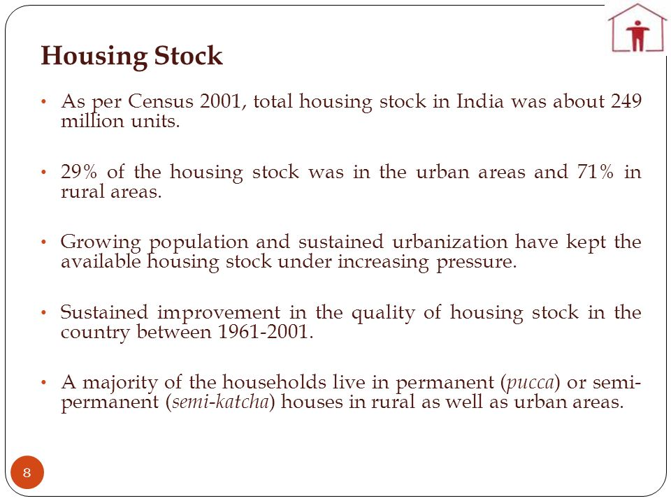 Housing Stock 8 As per Census 2001, total housing stock in India was about 249 million units.