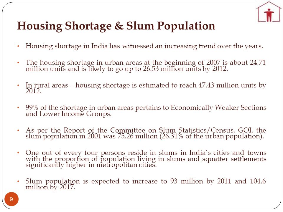 Housing Shortage & Slum Population 9 Housing shortage in India has witnessed an increasing trend over the years.