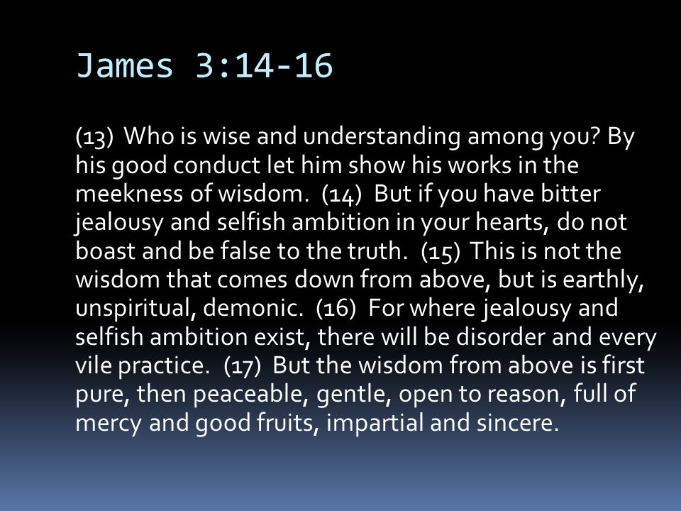 James 3:14-16 (13) Who is wise and understanding among you.