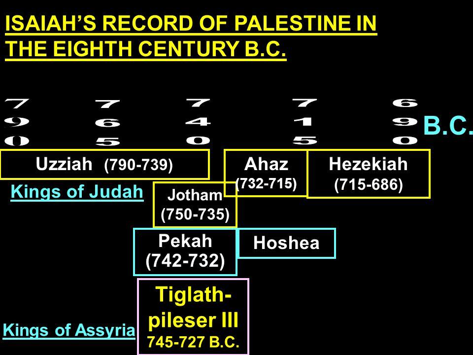 B.C. Uzziah (790-739) Jotham (750-735) Ahaz (732-715) Hezekiah (715-686) Tiglath- pileser III 745-727 B.C. Kings of Assyria Kings of Judah Pekah (742-