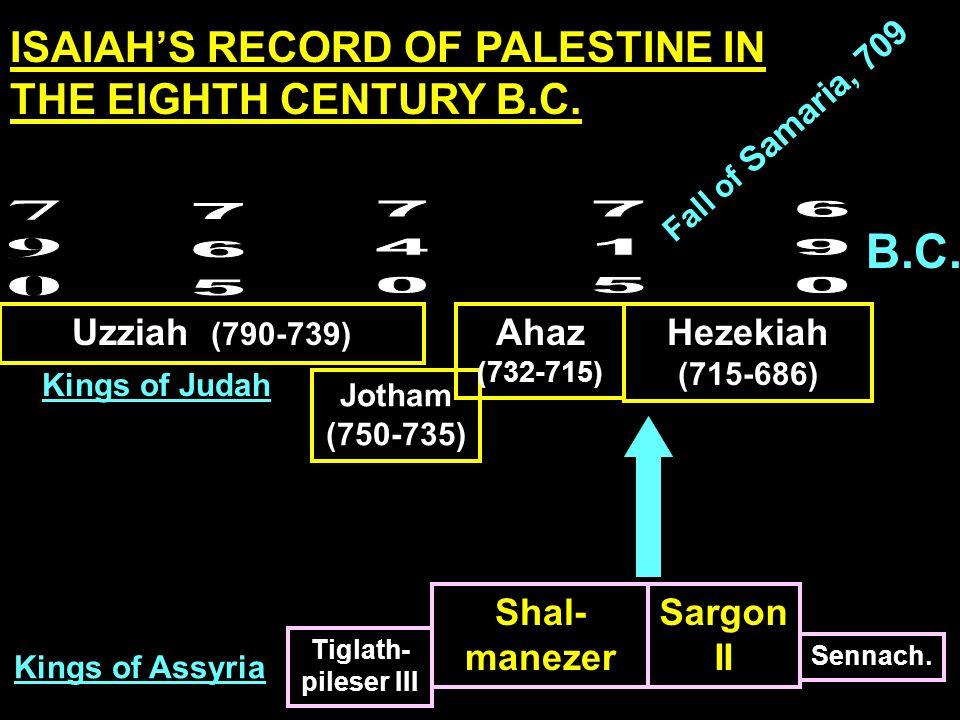B.C. Uzziah (790-739) Jotham (750-735) Ahaz (732-715) Hezekiah (715-686) Tiglath- pileser III Shal- manezer Sargon II Sennach. Kings of Assyria Kings