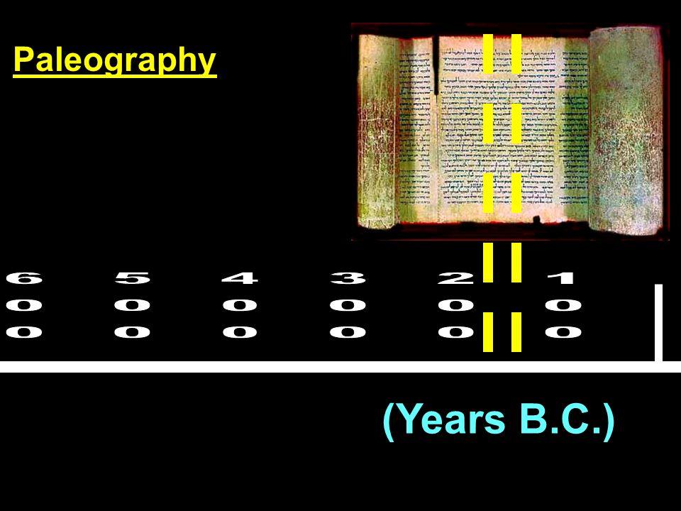 (Years B.C.) Paleography