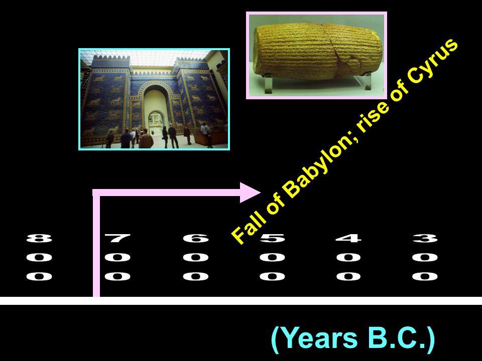 (Years B.C.) Fall of Babylon; rise of Cyrus