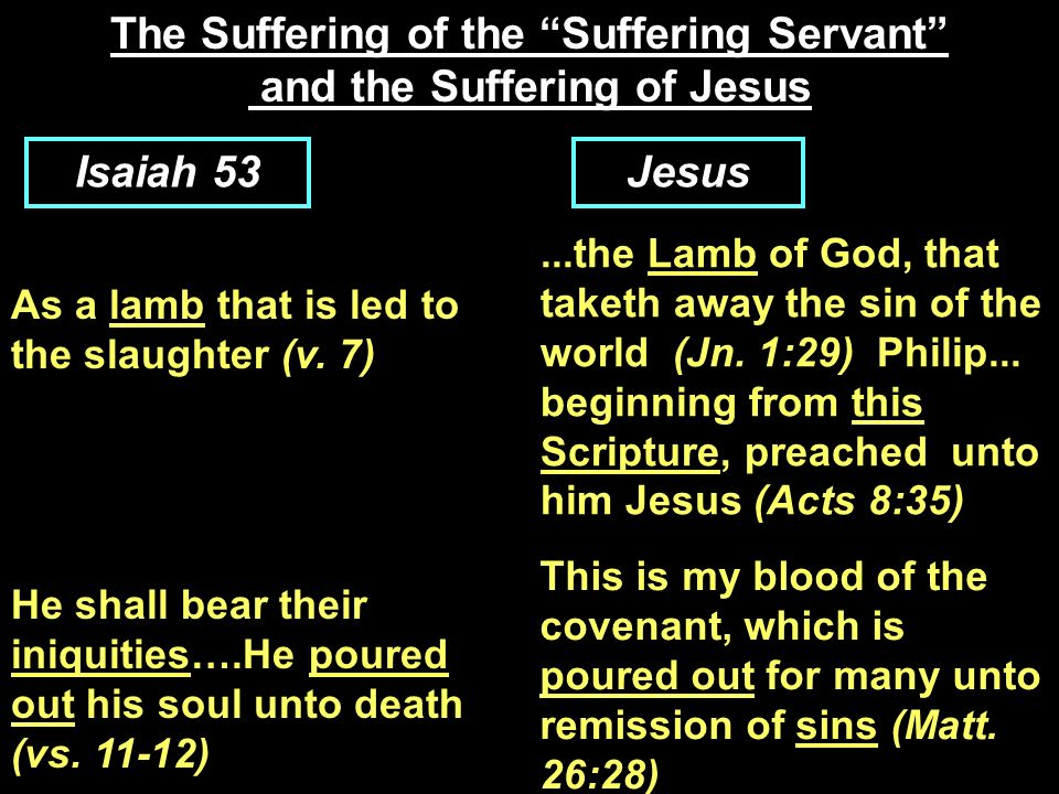 The Suffering of the Suffering Servant and the Suffering of Jesus Isaiah 53Jesus As a lamb that is led to the slaughter (v. 7)...the Lamb of God, that