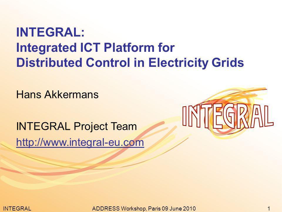 INTEGRAL1ADDRESS Workshop, Paris 09 June 2010 INTEGRAL: Integrated ICT Platform for Distributed Control in Electricity Grids Hans Akkermans INTEGRAL P
