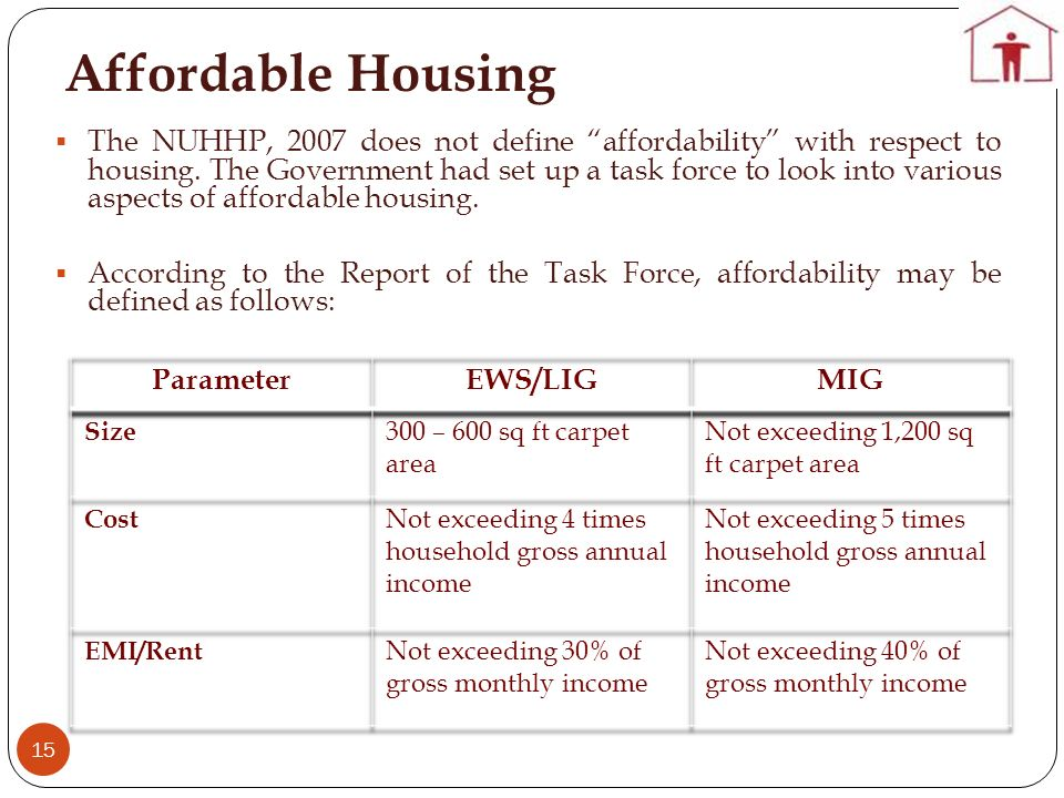 Affordable Housing 15 The NUHHP, 2007 does not define affordability with respect to housing. The Government had set up a task force to look into vario