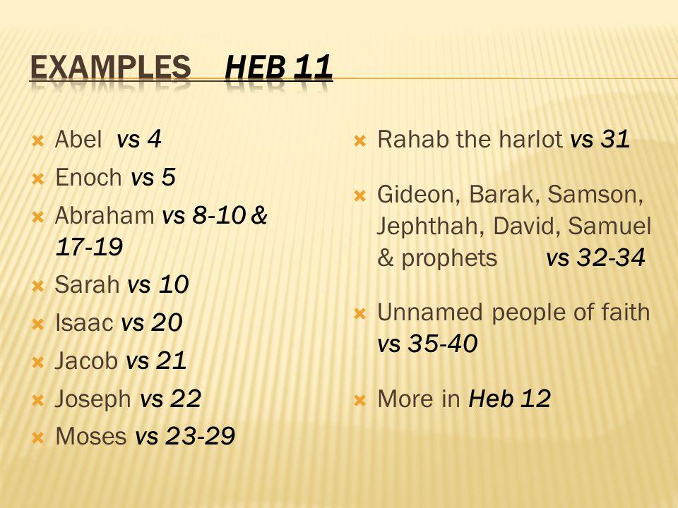 Abel vs 4 Enoch vs 5 Abraham vs 8-10 & 17-19 Sarah vs 10 Isaac vs 20 Jacob vs 21 Joseph vs 22 Moses vs 23-29 Rahab the harlot vs 31 Gideon, Barak, Samson, Jephthah, David, Samuel & prophets vs 32-34 Unnamed people of faith vs 35-40 More in Heb 12